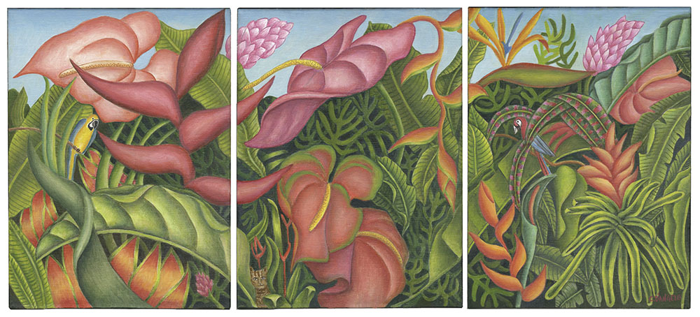 Tropical Triptych by Carol D'Angelo
