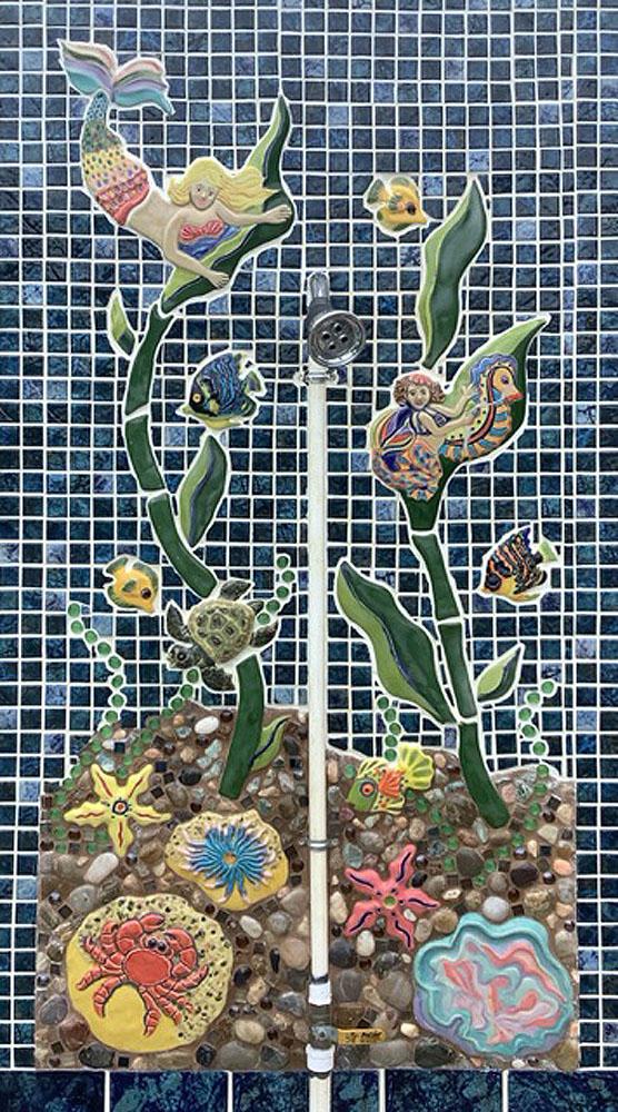 Ceramic Mural Pool Shower by Jan Stiles